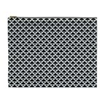 Black and white Triangles pattern, geometric Cosmetic Bag (XL)