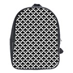 Black and white Triangles pattern, geometric School Bag (Large)