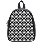 Black and white Triangles pattern, geometric School Bag (Small)