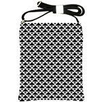 Black and white Triangles pattern, geometric Shoulder Sling Bag
