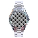 Black and white Triangles pattern, geometric Stainless Steel Analogue Watch