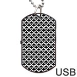 Black and white Triangles pattern, geometric Dog Tag USB Flash (Two Sides)