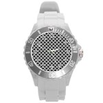 Black and white Triangles pattern, geometric Round Plastic Sport Watch (L)