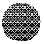 Black and white Triangles pattern, geometric Large 18  Premium Round Cushions