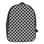 Black and white Triangles pattern, geometric School Bag (XL)