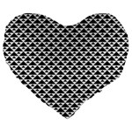 Black and white Triangles pattern, geometric Large 19  Premium Heart Shape Cushions