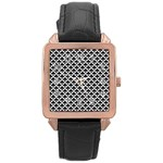 Black and white Triangles pattern, geometric Rose Gold Leather Watch