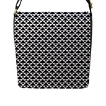 Black and white Triangles pattern, geometric Flap Closure Messenger Bag (L)