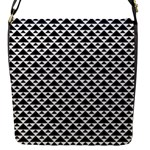 Black and white Triangles pattern, geometric Flap Closure Messenger Bag (S)