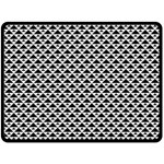 Black and white Triangles pattern, geometric Double Sided Fleece Blanket (Large)