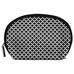 Black and white Triangles pattern, geometric Accessory Pouch (Large)