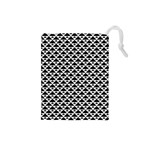 Black and white Triangles pattern, geometric Drawstring Pouch (Small)