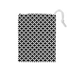 Black and white Triangles pattern, geometric Drawstring Pouch (Medium)