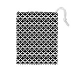 Black and white Triangles pattern, geometric Drawstring Pouch (Large)