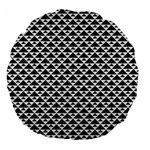 Black and white Triangles pattern, geometric Large 18  Premium Flano Round Cushions