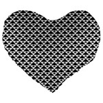 Black and white Triangles pattern, geometric Large 19  Premium Flano Heart Shape Cushions