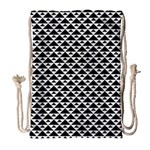 Black and white Triangles pattern, geometric Drawstring Bag (Large)