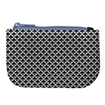 Black and white Triangles pattern, geometric Large Coin Purse