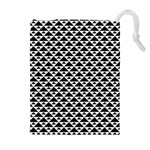 Black and white Triangles pattern, geometric Drawstring Pouch (XL)