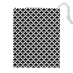 Black and white Triangles pattern, geometric Drawstring Pouch (2XL)