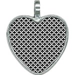 Black and white Triangles pattern, geometric Heart Necklace