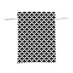 Black and white Triangles pattern, geometric Lightweight Drawstring Pouch (M)