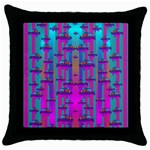 Tropical Rainbow Fishes  In Meadows Of Seagrass Throw Pillow Case (Black)