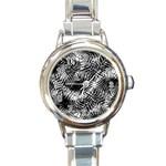 Tropical leafs pattern, black and white jungle theme Round Italian Charm Watch