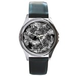 Tropical leafs pattern, black and white jungle theme Round Metal Watch