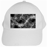 Tropical leafs pattern, black and white jungle theme White Cap