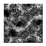Tropical leafs pattern, black and white jungle theme Tile Coaster
