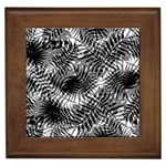 Tropical leafs pattern, black and white jungle theme Framed Tile