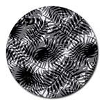 Tropical leafs pattern, black and white jungle theme Round Mousepads