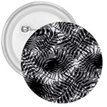 Tropical leafs pattern, black and white jungle theme 3  Buttons