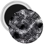 Tropical leafs pattern, black and white jungle theme 3  Magnets