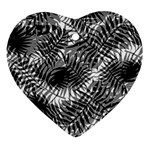 Tropical leafs pattern, black and white jungle theme Ornament (Heart)