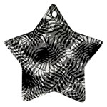 Tropical leafs pattern, black and white jungle theme Ornament (Star)