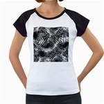 Tropical leafs pattern, black and white jungle theme Women s Cap Sleeve T
