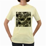 Tropical leafs pattern, black and white jungle theme Women s Yellow T-Shirt