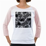 Tropical leafs pattern, black and white jungle theme Girly Raglan