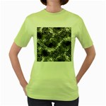 Tropical leafs pattern, black and white jungle theme Women s Green T-Shirt
