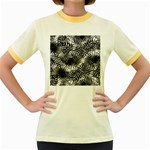 Tropical leafs pattern, black and white jungle theme Women s Fitted Ringer T-Shirt