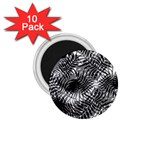 Tropical leafs pattern, black and white jungle theme 1.75  Magnets (10 pack)