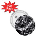Tropical leafs pattern, black and white jungle theme 1.75  Buttons (100 pack)