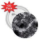 Tropical leafs pattern, black and white jungle theme 2.25  Buttons (100 pack)
