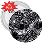 Tropical leafs pattern, black and white jungle theme 3  Buttons (10 pack)
