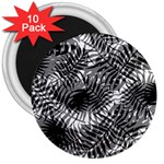Tropical leafs pattern, black and white jungle theme 3  Magnets (10 pack)