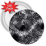Tropical leafs pattern, black and white jungle theme 3  Buttons (100 pack)