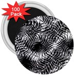 Tropical leafs pattern, black and white jungle theme 3  Magnets (100 pack)