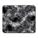 Tropical leafs pattern, black and white jungle theme Large Mousepads